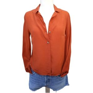 & Other Stories Silk Button Down Crop Blouse XS